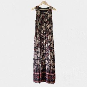 Garnet Hill Ruched Surplice Sleeveless Maxi Dress